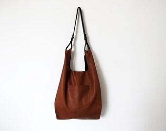 Tobacco brown leather bag - leather tote bag - women bags SALE soft leather bag - leather handbag - handmade bag- leather shoulder bag