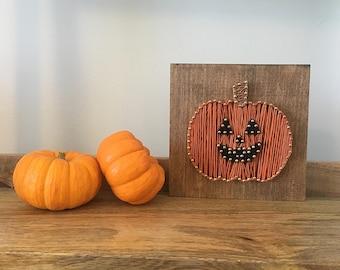 Jack-o-lantern string art, pumpkin, halloween decor
