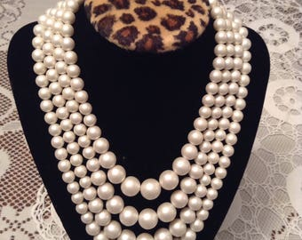 Lovely 4 Strand Faux Pearl Necklace.