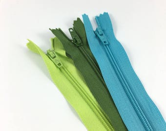 Set of 3 zippers 15 cm not separable turquoise / lime green / pine Green