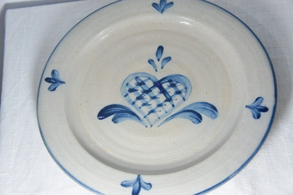 & vintage Rowe Pottery Salt Glazed Plates Lattice Heart Large