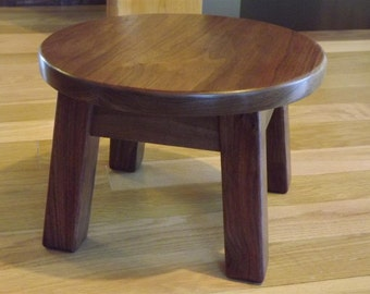 "Walnut, round stool, step stool, mission style, farmhouse, 8""- 10"" - 12"" H"