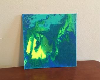 "6""x6"" acrylic pour art on canvas"