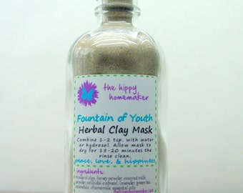 Fountain of Youth - Hippy Chic Herbal Clay Face, Body, & Hair Mask - Eco-Friendly Packaging