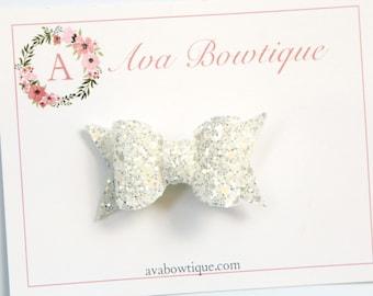 White Bow Hair Clip - Glitter Bow Hair Clip - White Glitter Hair Clip - Glitter Bow Clippie - White Glitter Clippie