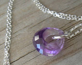 Unique Amethyst Sterling Pendant February Birthstone