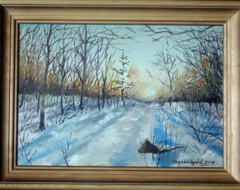 winter landscape sunset in the forest realism