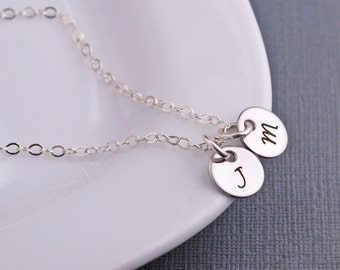 Tiny Initial Charm Necklace, Personalized Jewelry, Simple Necklace, Silver Letter Necklace, Small Charm Necklace