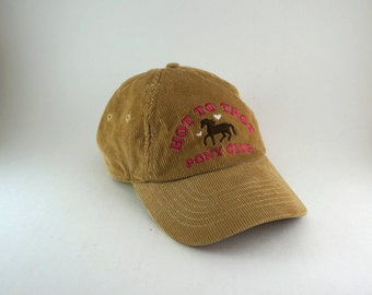 Hot To Trot Pony Club Tan Corduroy Baseball Cap // Strapback Adjustable Hat // Aeropostale