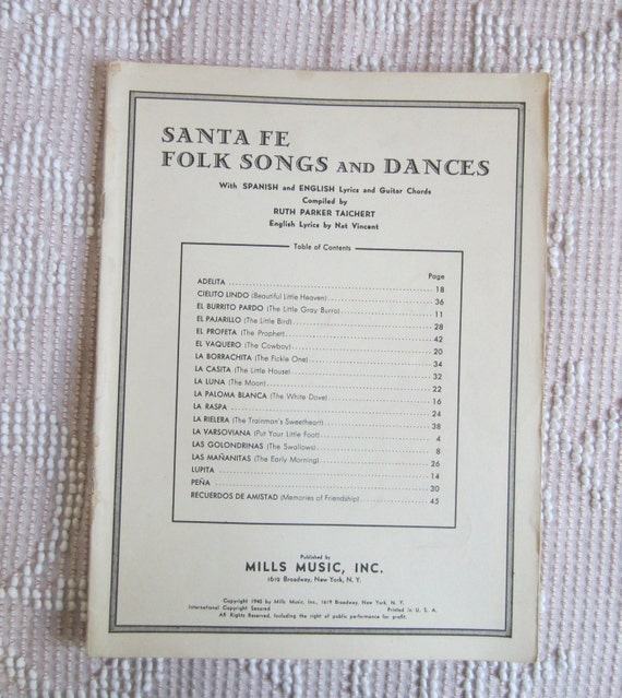 Santa Fe Folk Songs and Dances Vintage Song Book w/ Spanish &