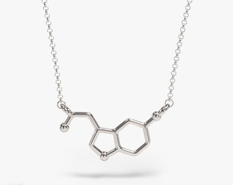 science jewelry: silver horizontal serotonin necklace - 3D printed happy hormones pendant - wearable biology - PhD - brain - neuroscience