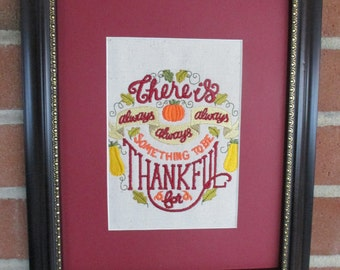 thanksgiving, autumn, inspiration, thankful, machine embroidery with mat, ready to frame, home decor, wall decor,