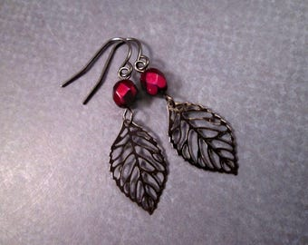 Leaf Earrings, Wine Red Metallic Glass Beads, Gunmetal Silver Dangle Earrings, FREE Shipping U.S.
