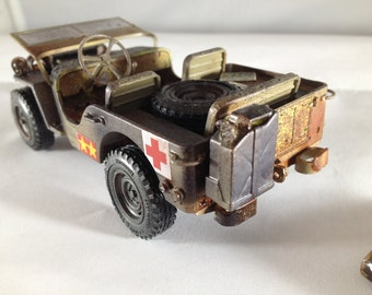 Scale Model Jeep,Steampunk,MarineCorp,Army Green, Classicwrecks, Rusted Wreck,OldSchool,JunkYard