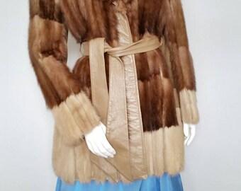 Equisite Mink Leather Jacket Vintage Ladies Fur Coat
