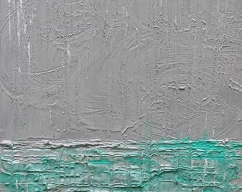 Ocean Painting, Rain Painting, Acrylic Painting, Original Art, Grey, Green, Rain, WHEN CLOUDS CRY by Suzann Kingston / Free Shipping
