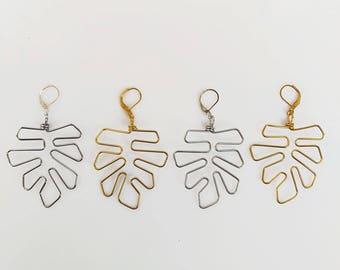 Monstera Leaf Earrings, Botanical Earrings Large Plant Leaves, Wire Earrings Silhouette