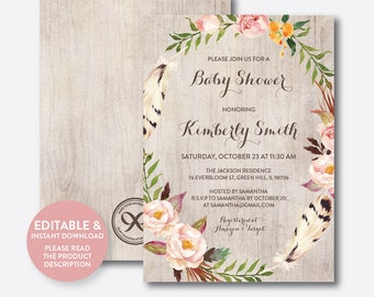 Instant Download, Editable Floral Baby Shower Invitation, Floral Invitation, Flower Baby Shower Invitation, Boho Rustic Baby Shower (FBS.12)
