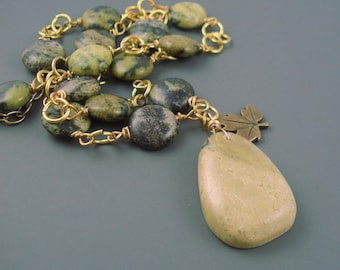 Green Turquoise and Brass Necklace, Green Gemstone Necklace
