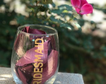 Stemless Wine Glass, Bridesmaid Glasses, Wedding Glasses