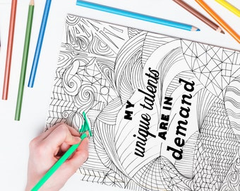 positive affirmation coloring page for adults, inspirational quote coloring book, hand-drawn, handmade coloring mantra, prosperity mantra