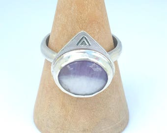 chevron amethyst ring size 6, ring size L 1/2, sterling silver ring, February birthstone ring, Mothers Day gift, February birthday gift