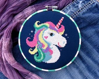 Rainbow Unicorn Cross Stitch Pattern, Horse Cross Stitch, Fantasy Cross Stitch, Unicorn Gift Pattern Embroidery, Animal Cross Stitch