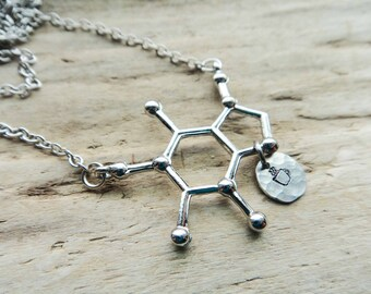 Caffeine Molecule Pendant - Molecule Science Student Chemistry Jewelry- Science Coffee Tea Cup Stamped Necklace Jewelry