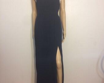 Slit Dress / PEARL DRESS / slit dress / Evening Wear / Black / Minimalist