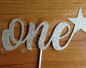 One Cake Topper - Glitter Cake Topper - 1st Birthday - First Birthday - One- 1st Birthday Cake Topper - Age Cake Topper