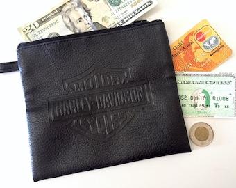 Harley Davidson Bag - Motorcycle Pouch - Vegan Leather Wallet - Harley Davidson Motors Coin Pocket - Vintage Coin Pouches - Biker Gift