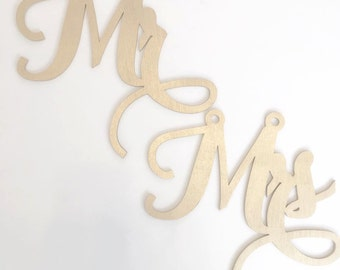 Mr and Mrs Wooden Chair Signs - Carolyna