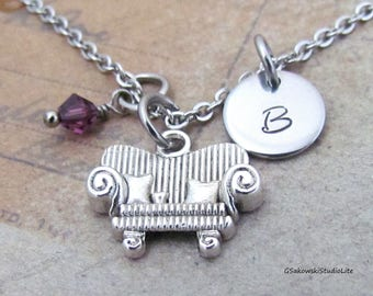Sofa Charm Necklace, Personalized Hand Stamped Initial Monogram Birthstone Antique Couch Charm Necklace