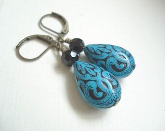 Blue Teardrop Earrings Vintage Blue Drop Earrings Blue Black Earrings