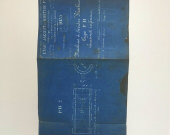 French industrial engineering blueprint, no. 2035 circa 1930s. Wonderful dark teal colour. Size: 472 x 272 mm.