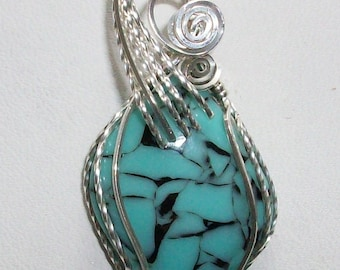 Faux Turquoise Bowlerite Pendant in Silver Filled Wire