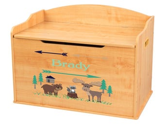 Personalized North Woodland Critters Natural Toy Box Bench
