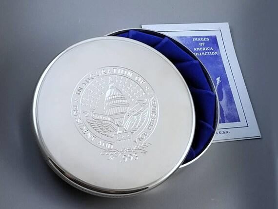President William Jefferson Clinton vice president Albert Arnold Gore collectible keepsake inaugural pewter jewelry box by Salisbury