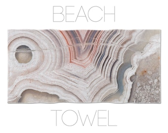 Agate towel, beach towel, home towels, mineral photography, summer, beige, bath decor, cotton terry, polyester, beach accessory, gift. MW059