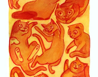 Yellow Cats • fine art print • illustration • cat • playful