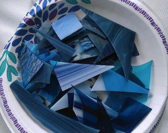 Blue Scrap Glass -1 lb lot-Blue Glass Mix-Scrap Glass-Mosaic Glass