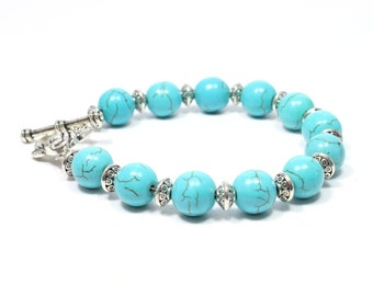 Turquoise Bracelet with Toggle Clasp - Turquoise Jewelry - Gemstone Bracelet - Turquoise Howlite Bracelet - Big Skies Jewellery