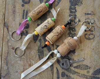 Floating Keyring, Cap of recycled Cork, Ribbon, beads