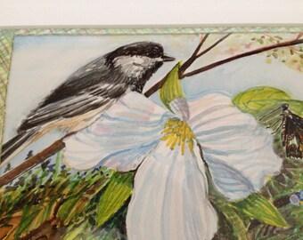 Chickadee and trillium watercolor