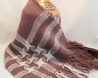 Hand Woven Baby Alpaca Scarf with Pinwheels and Stripes in Cream on Brown
