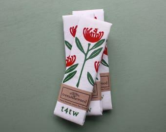 Hand Printed Waratah Tea Towel, Linen Tea Towel, Wildflower Tea Towel