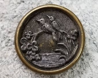 Delightful Antique Metal Picture Button ~ Two Birds Sitting on a Branch ~ Lovebirds ? ~ 5/8 inch 16mm ~ Bird Pair Pictorial Sewing Button