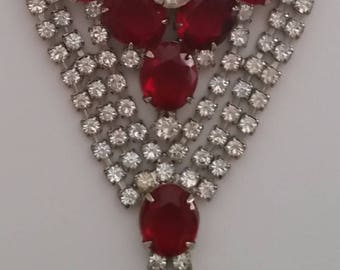 Vintage JULIANA Gorgeous Ruby Red Rhinestone Necklace  ~ Beautiful Authentic And Collectible Designer Vintage Jewelry