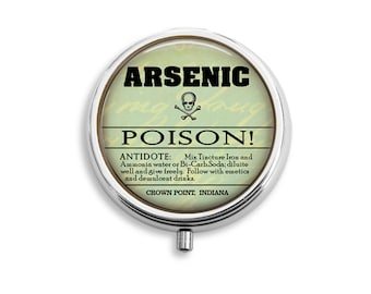 Arsenic Poison Pill Box, Compact Mirror, Pendant, Key Fob, Gift for Women