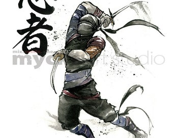 PRINT 8x10 NINJA Japanese Calligraphy by Mycks